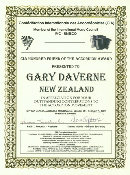 CIA Honored Friend of the Accordion certificate